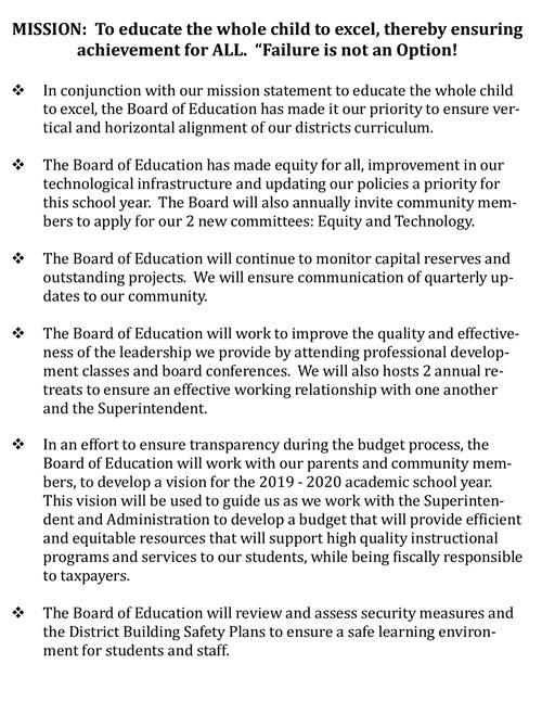 Board of Education 2019-2020 Goals / Welcome