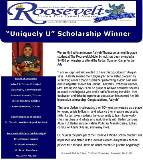 Uniquely U Scholarship Winner